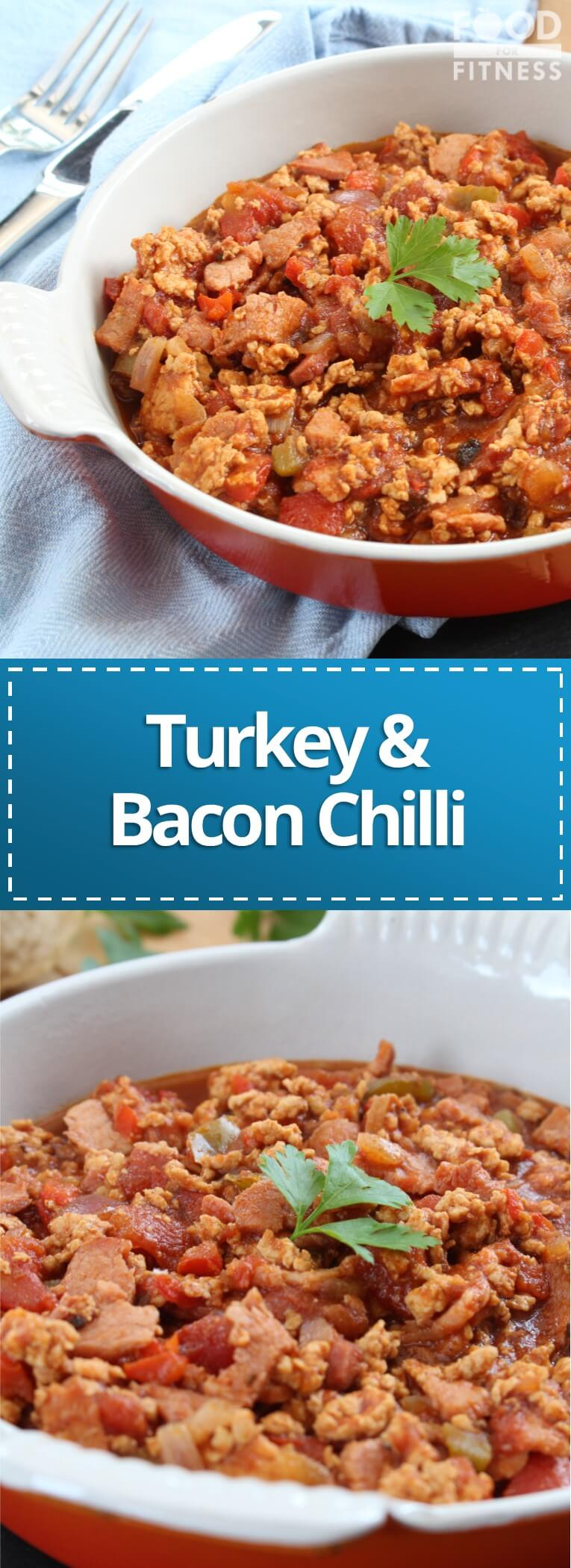 This is a delicious recipe for bacon and turkey chilli! #turkey #chilli