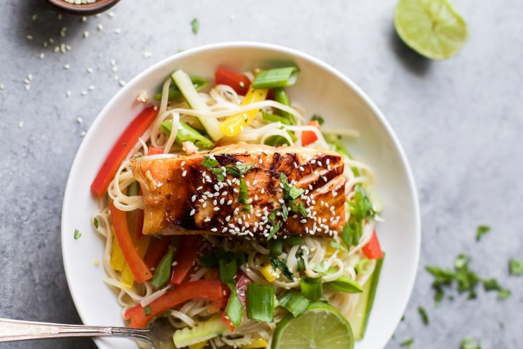 Teriyaki Salmon with Asian Noodle Salad