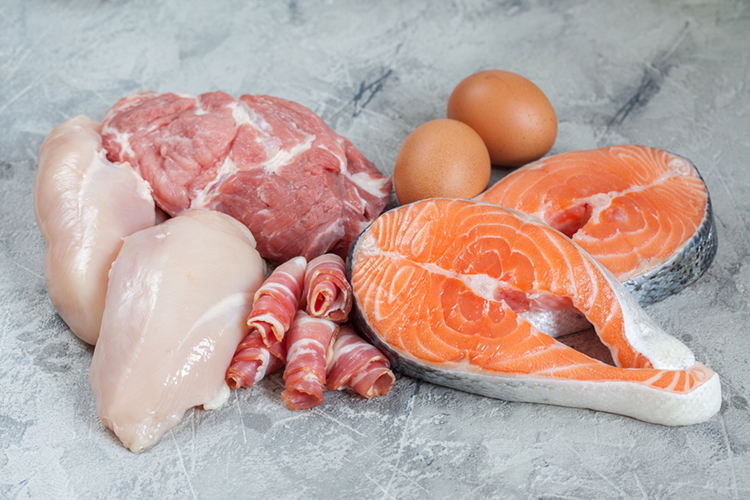 Keto diet plan, a group of red meat, chicken, beef, fish meat and 2 eggs