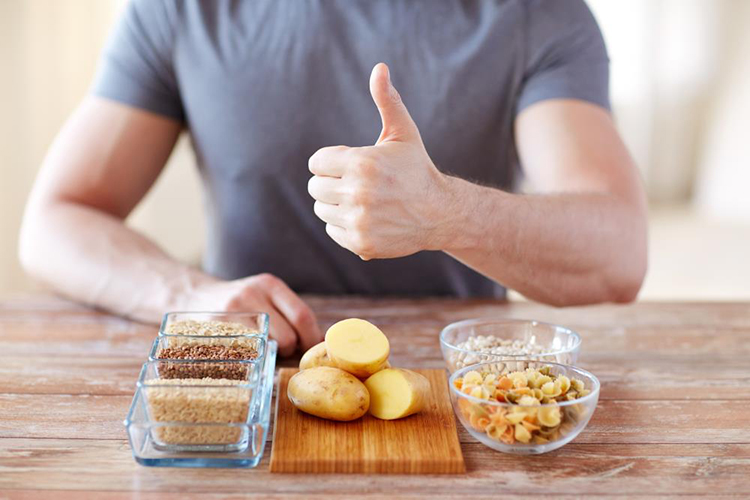 Keto Diet Plan, Grains, potato, man half-body, thumbs-up