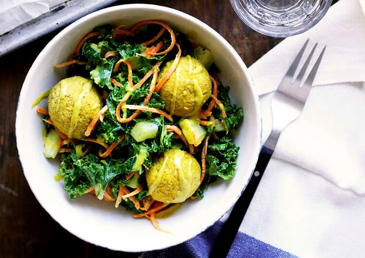 Curried Falafel with Kale Salad, High-Protein Vegetarian recipe