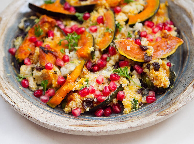 Quinoa with Acorn Squash & Pomegranate, Vegan diet