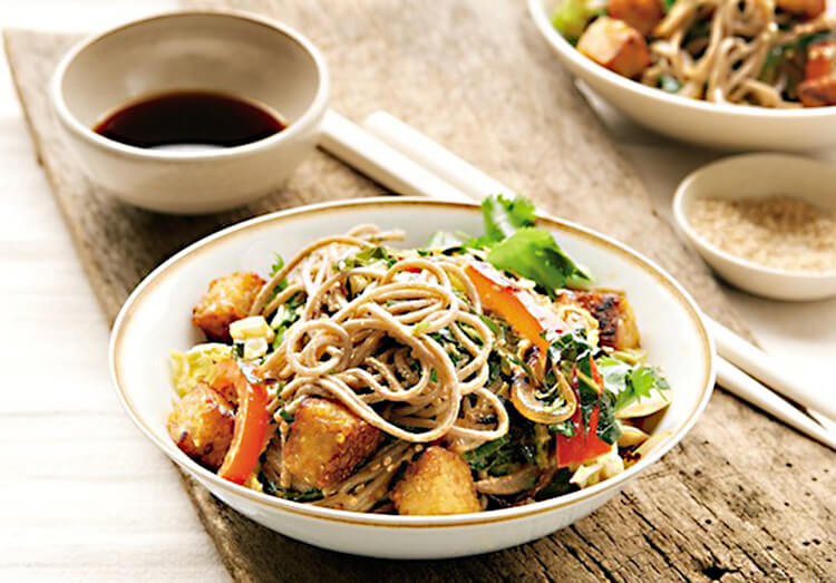 Sesame Soba Noodles with Tempeh Croutons, vegetarian high protein recipe