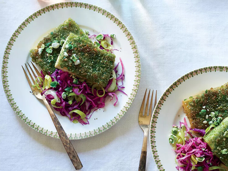 Wasabi Pea Tofu with Red Cabbage and Leeks, high protein vegan recipe