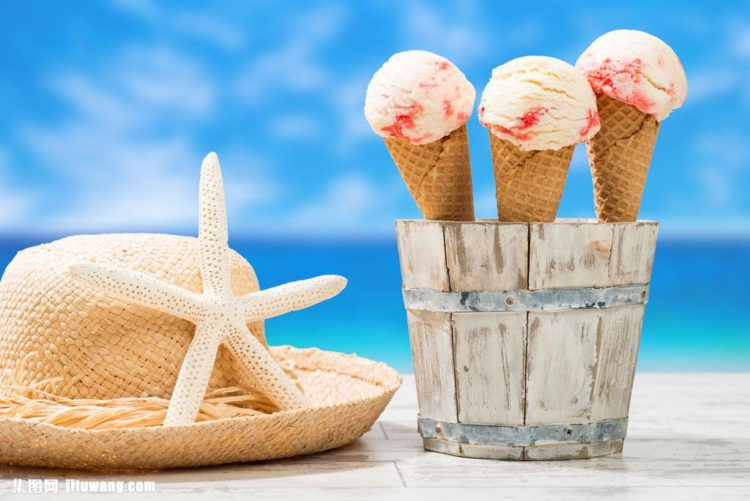 native hat with starfish and 3 ice cream in a cone on the bucket by the beach, weight loss