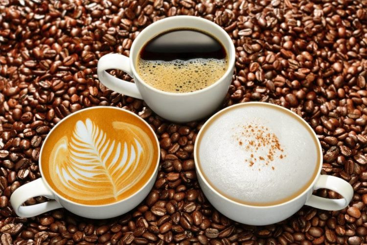 3 cups of different flavored coffee