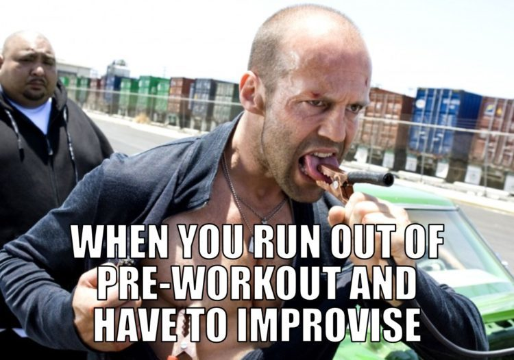 Focus shot of a man with pliers on his tongue with a caption, When you run out of pre-workout and have to improvise, useless suppliements
